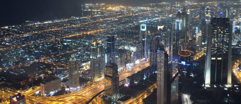 Dubaj nocy panorama zdjęcia royalty free