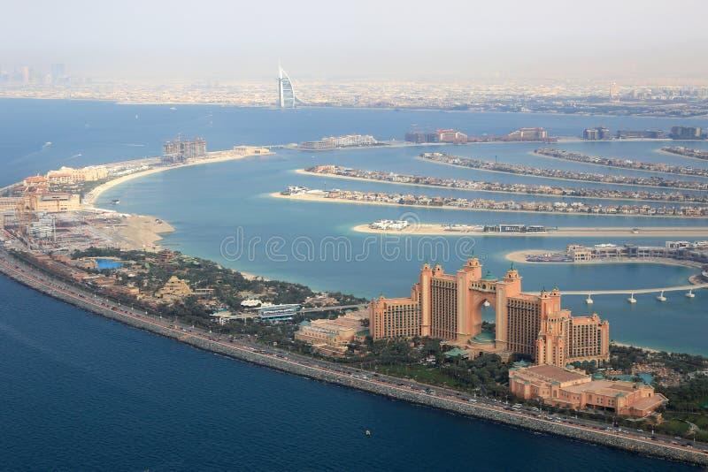 Dubaj Palmowej wyspy Atlantis Burj Hotelowego Al Arabski widok z lotu ptaka ph obrazy stock