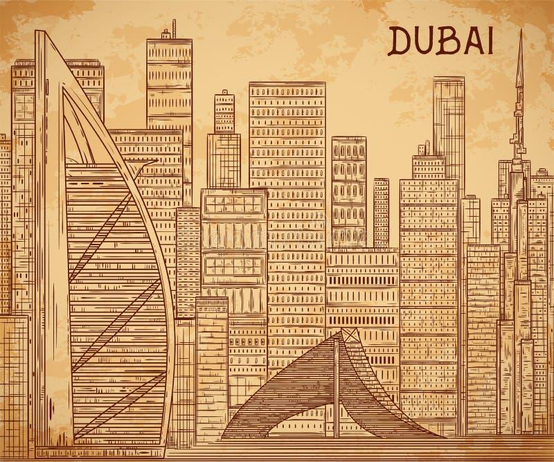 Dubaj Pejzaż miejski w kreskowej sztuki stylu na starzejącym się papierowym tle ilustracja wektor