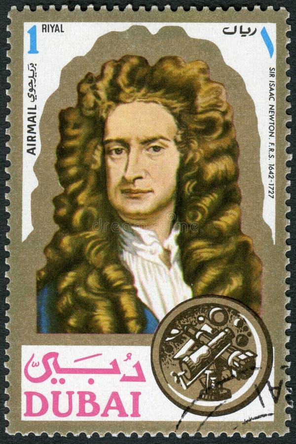 DUBAJ - 1971: przedstawienia Sir Isaac Newton 1642-1727, naukowiec, portrety zdjęcie stock