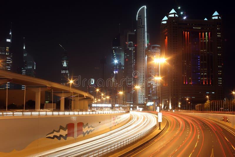 Dubaj przy nocą obraz royalty free