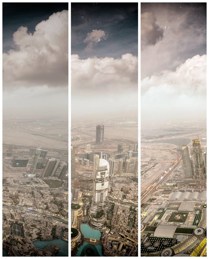 DUBAJ, UAE - GRUDZIEŃ 4, 2016: Nocy widok z lotu ptaka W centrum bui fotografia stock