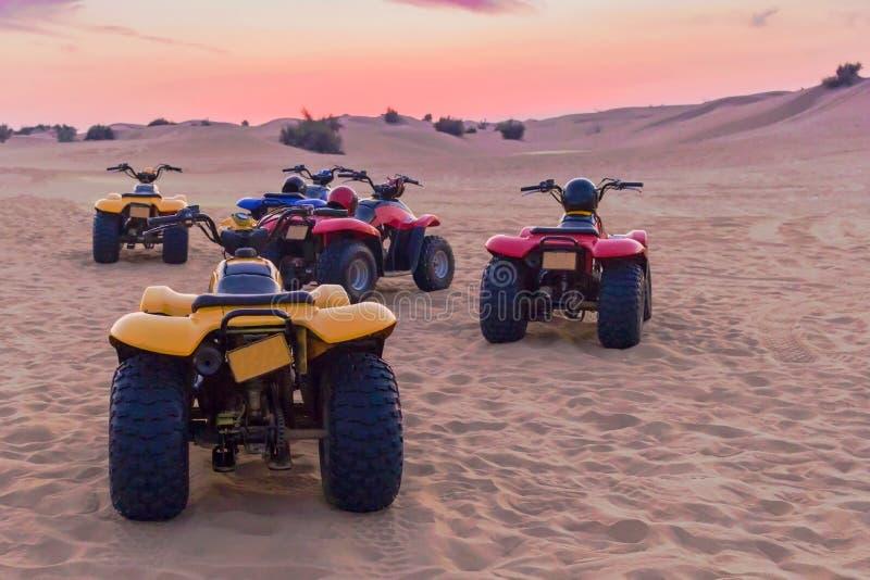 Dubaj, UAE MARZEC 12 2009 kwadratów motocykli/lów safari w pustyni czerwony piasku fotografia stock