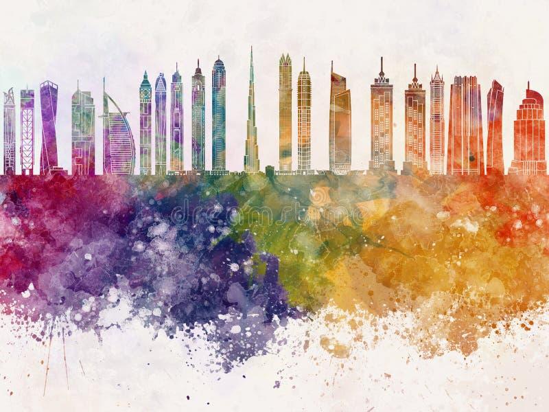 Dubaj V2 linia horyzontu w akwareli tle royalty ilustracja