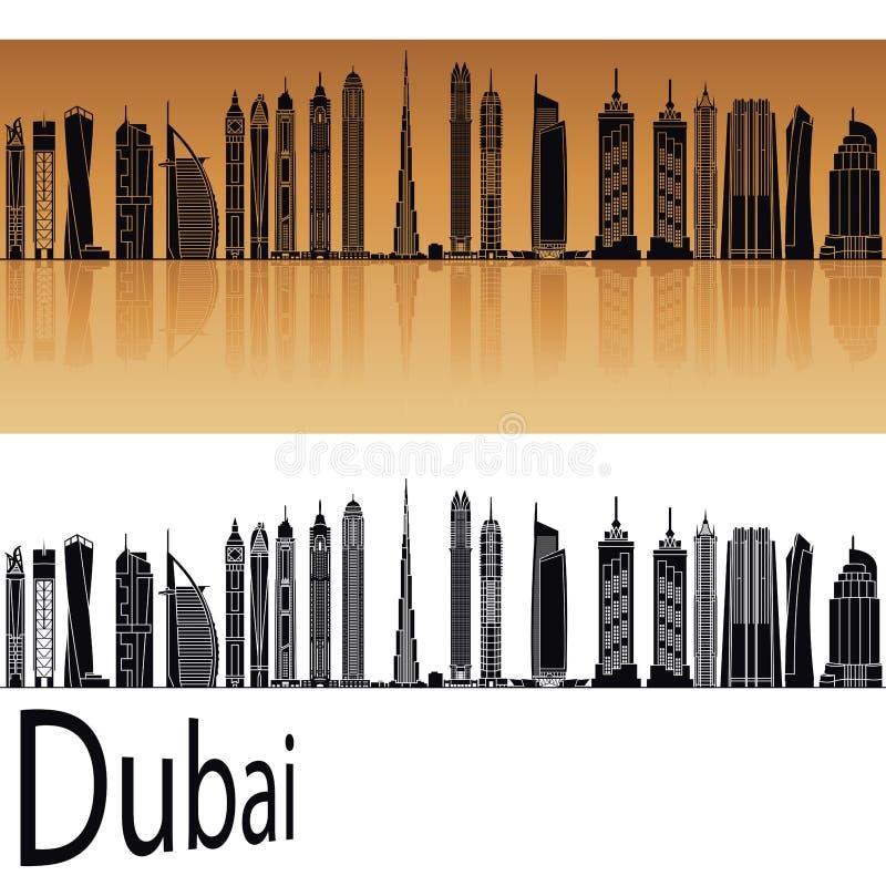 Dubaj V2 linia horyzontu w pomarańcze royalty ilustracja