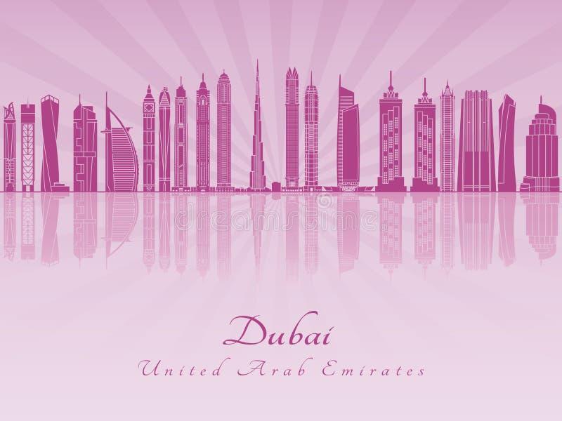 Dubaj V2 linia horyzontu w purpurowej opromienionej orchidei ilustracji