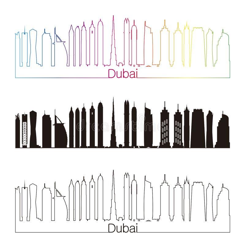 Dubaj V2 linii horyzontu liniowy styl z tęczą ilustracja wektor
