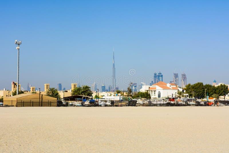 Dubaj, Zjednoczone Emiraty Arabskie, Kwiecień 20, 2018: Panoramiczny widok d obraz stock