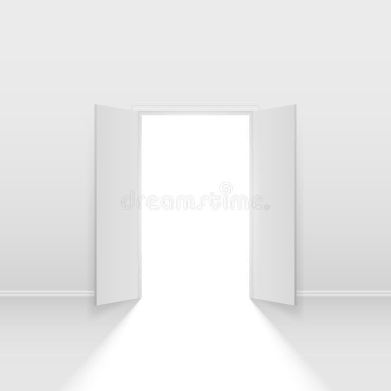 Dubbel öppen dörr vektor illustrationer