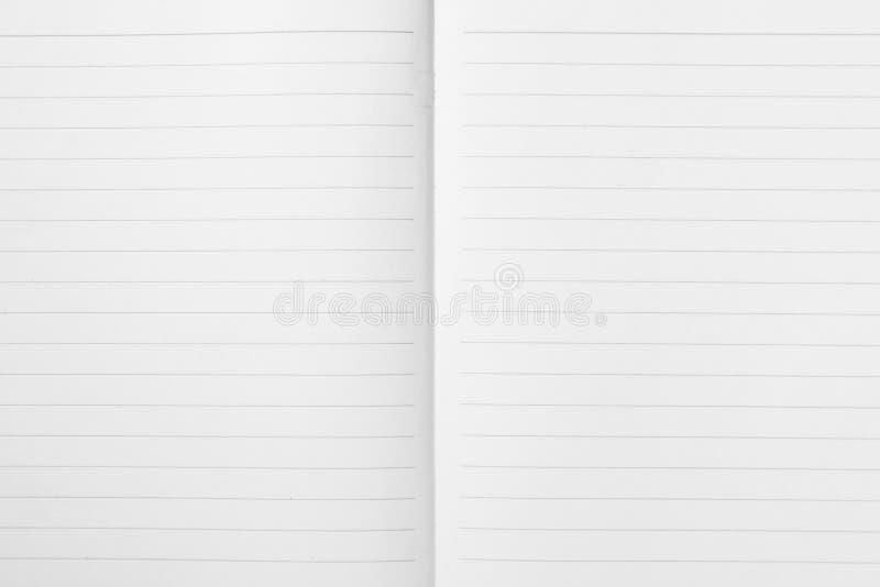 Dubbel blad van geopend gevoerd notadocument van oefening Notitieboekje achtergrondtextuurpatroon stock foto's