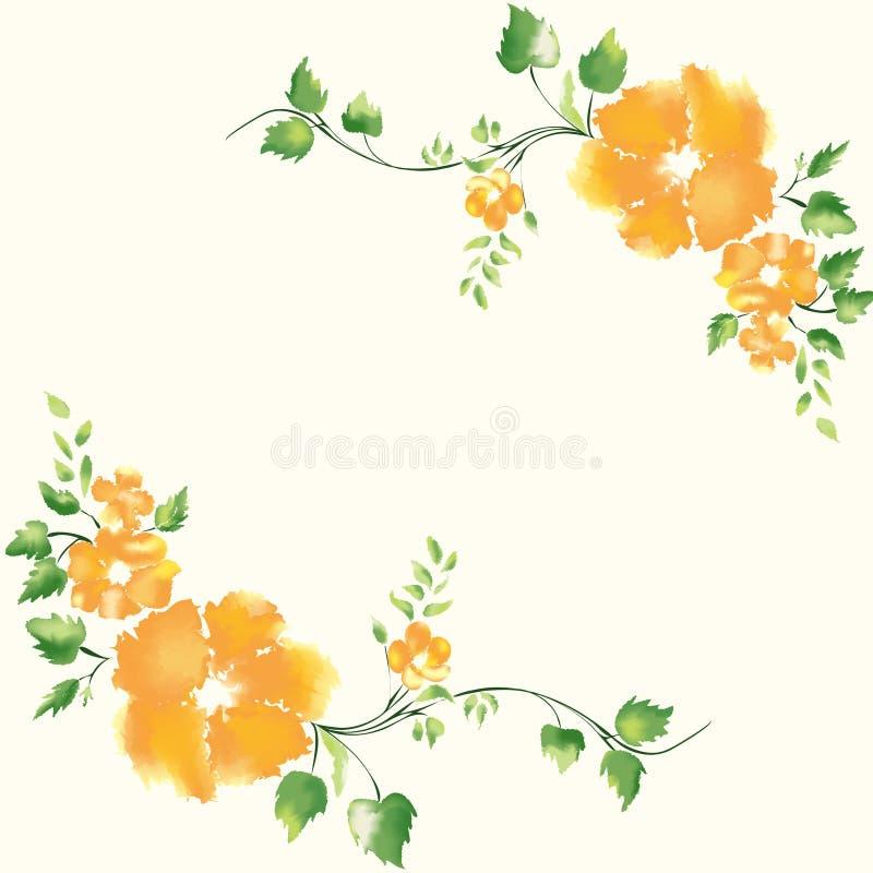 Dubbel bloemkader stock illustratie