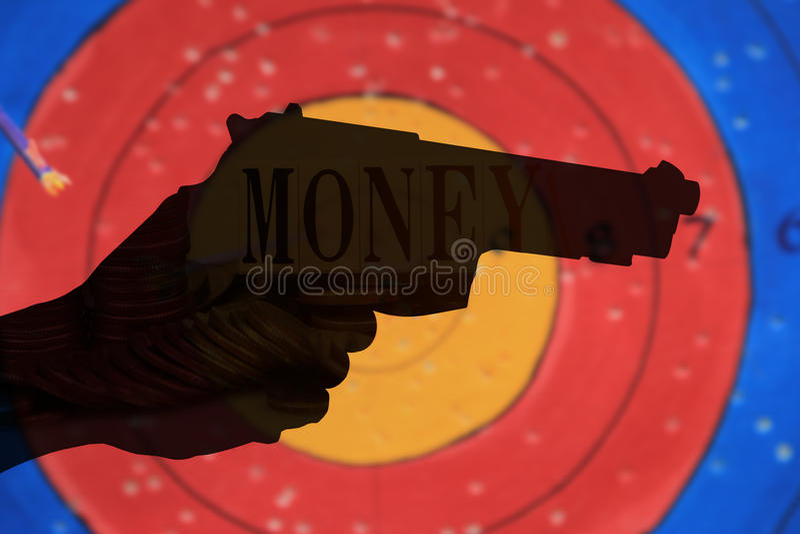 Dubbel blootstellingsflatgebouw met koopflats van kanon met muntstukkenachtergrond, Financiën en bankwezenconcept royalty-vrije illustratie
