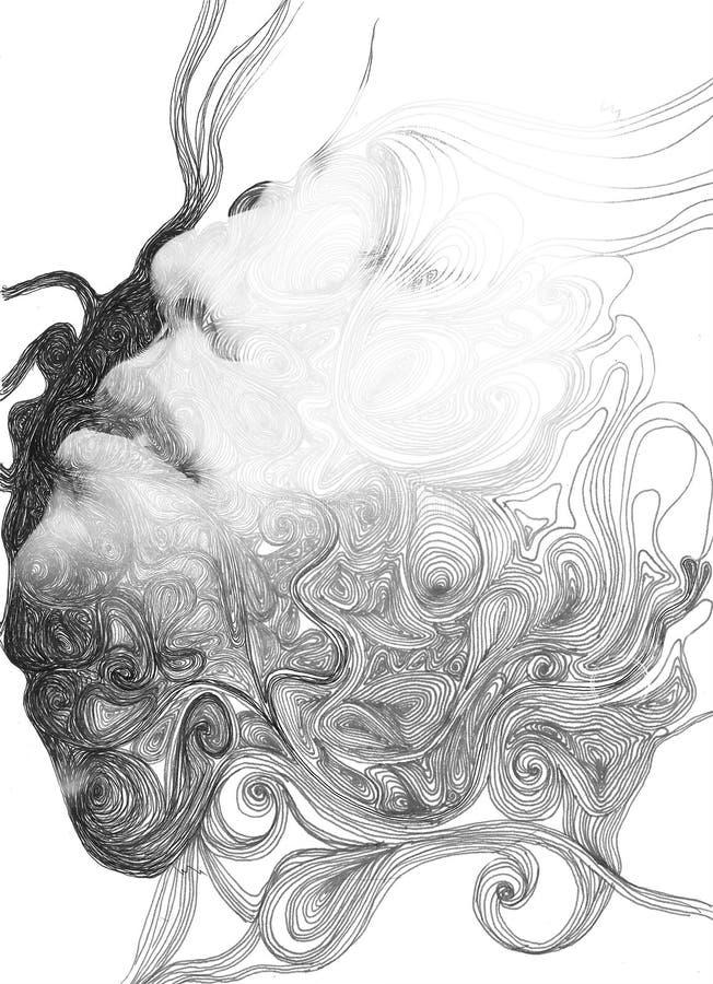 Dubbel blootstellingsportret vector illustratie