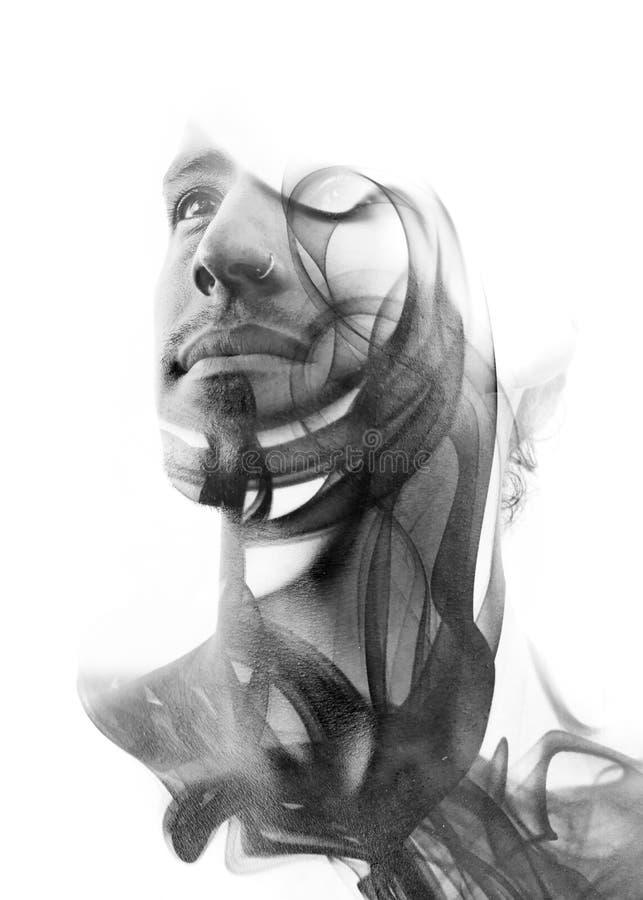 Dubbel blootstellingsportret van een sexy statueske mens met donkere prestatie vector illustratie