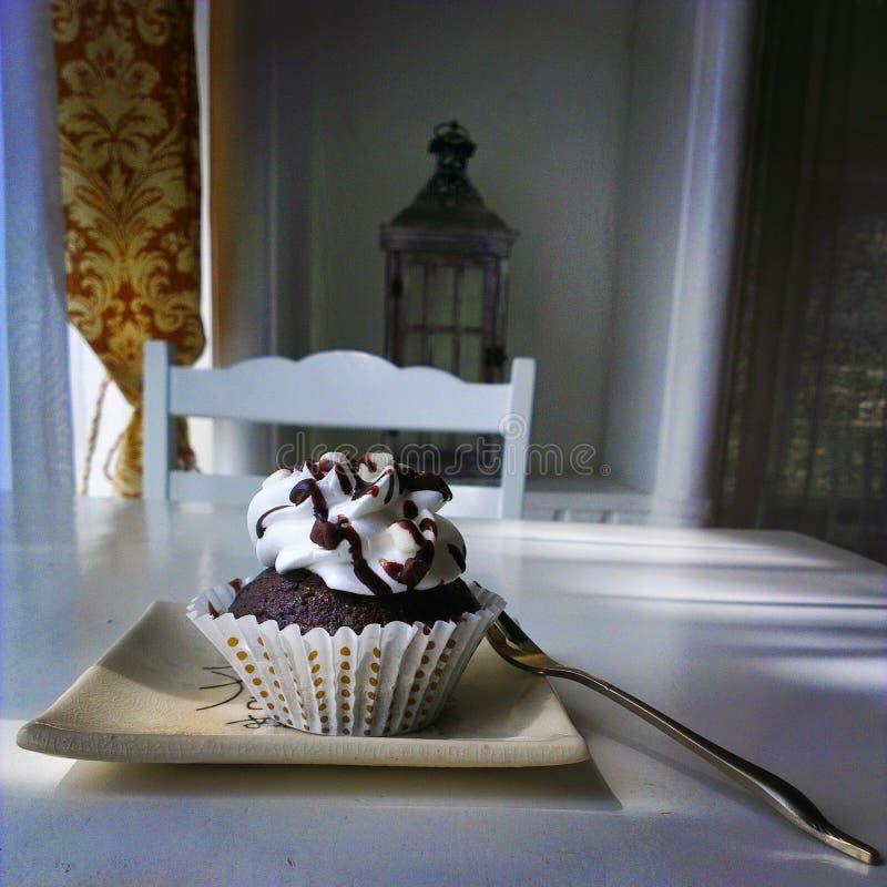 Dubbel choklad Brownie Cupcake arkivfoton