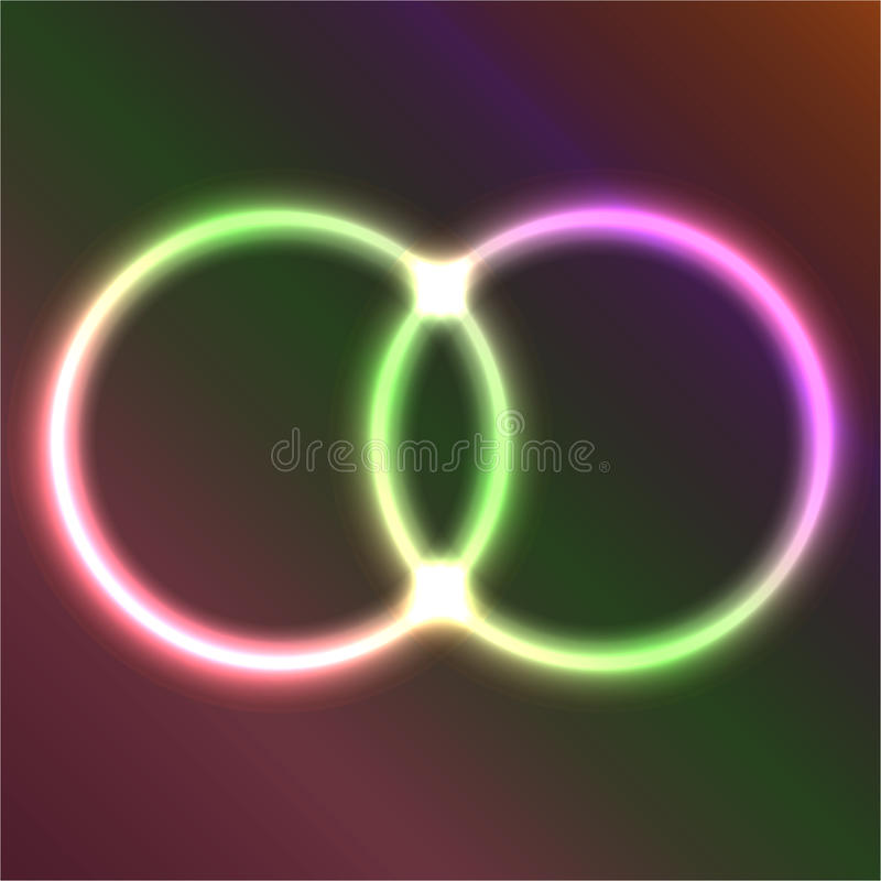Dubbel cirkel av neon stock illustrationer