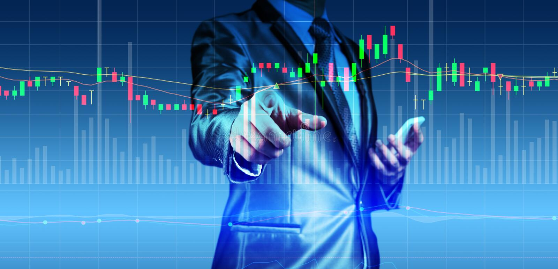Dubbel exponering av affärsmannen med aktiemarknaddiagrammet royaltyfri foto