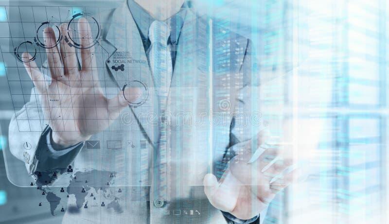 Dubbel exponering av affärsmannen visar modern teknologi vektor illustrationer