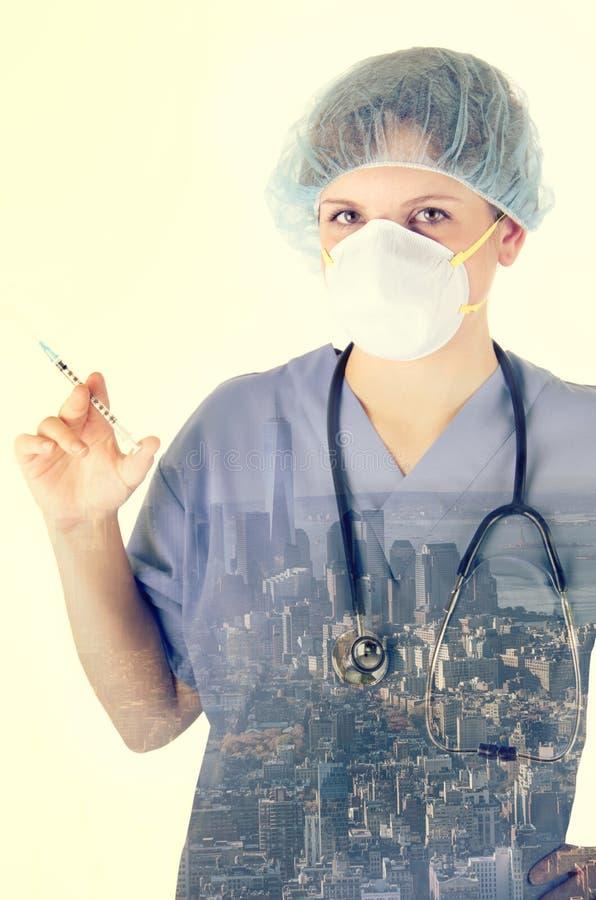 Dubbel exponering av den medicinska sjuksköterskan arkivfoton