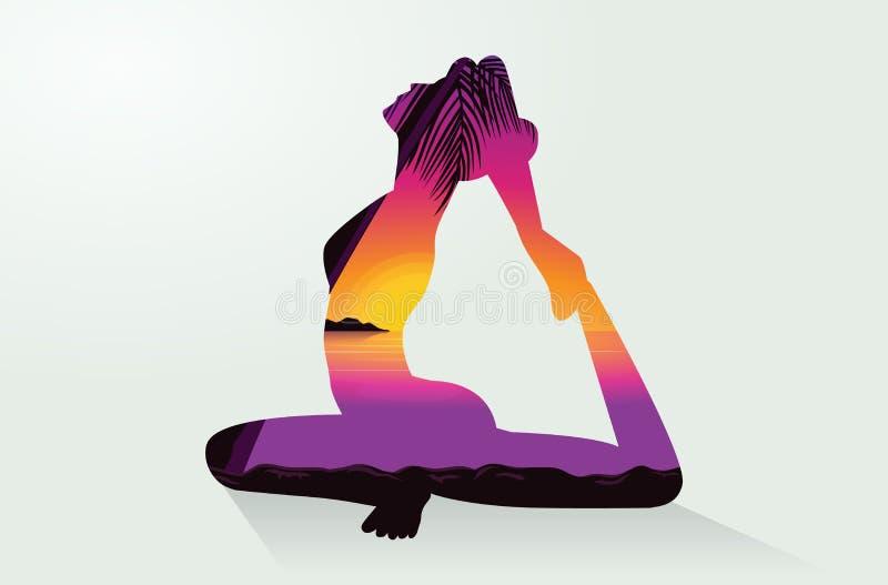Dubbel exponering av det yogaställingar och havet royaltyfri illustrationer