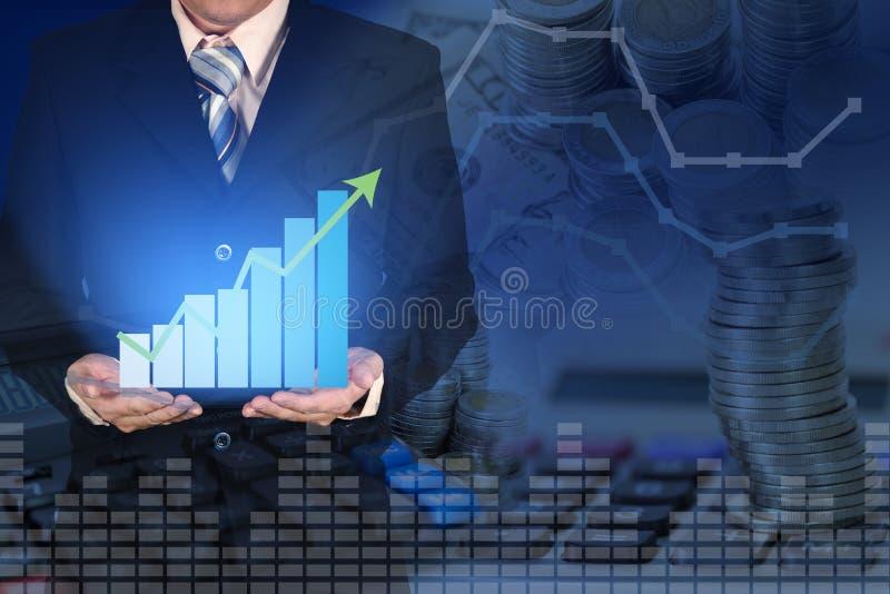 Dubbel exponering av diagrammet för graf för affärstillväxt det finansiella med ar arkivbilder