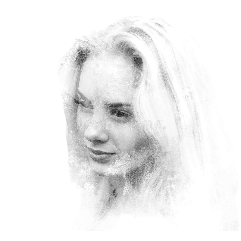 Dubbel exponering av en ung härlig flicka Målad stående av en kvinnlig framsida Svartvit bild som isoleras på vit bakgrund vektor illustrationer