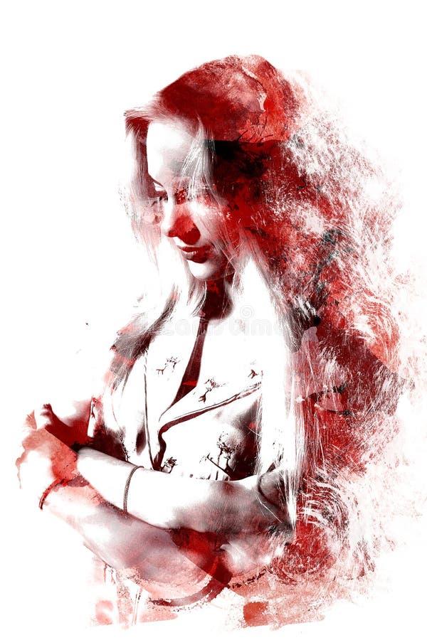 Dubbel exponering av en ung härlig flicka Målad stående av en kvinnlig framsida Mång--färgad bild som isoleras på vit bakgrund royaltyfri illustrationer