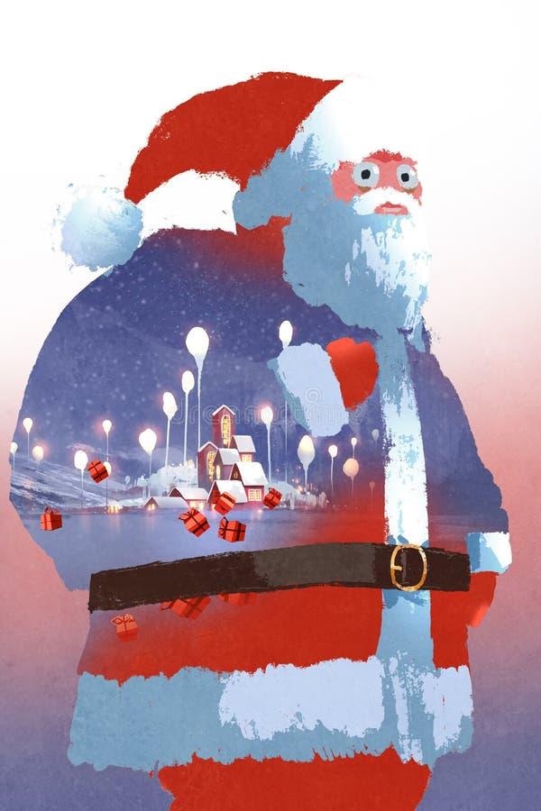 Dubbel exponering av Santa Claus och vinterlandskapet med fantasibyn royaltyfri illustrationer