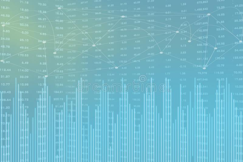 Dubbel exponering av staden, aktiemarknaden och grafen p? rader av mynt f?r finans och bankr?relsen, investeringar, handel, diagr royaltyfri foto