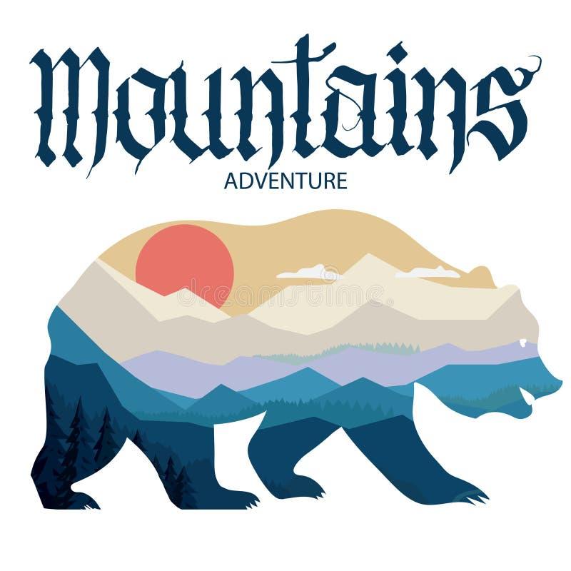 Dubbel exponering för björn och för natur, berglandskap Djurlivaffärsföretag vektor royaltyfri illustrationer