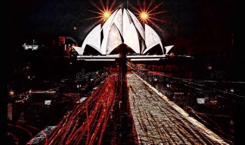 Dubbel exponering för Lotus tempel med natttrafik arkivbilder