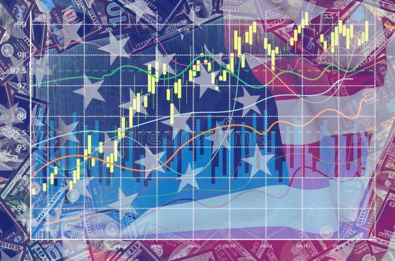 Dubbel exponering med amerikanska flaggan, dollaren och affärsgrafen royaltyfri bild
