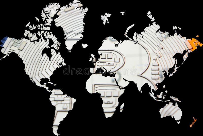 Dubbel exponering med världskartan och guld- bitcoin som bakgrund vektor illustrationer