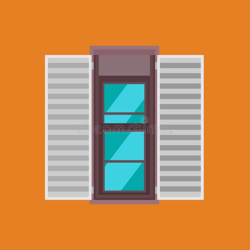 Dubbel hängd sikt för exponeringsglas för fönstervektorsymbol främre Inre isolerad rambyggnad för hus Öppen träyttre båge stock illustrationer
