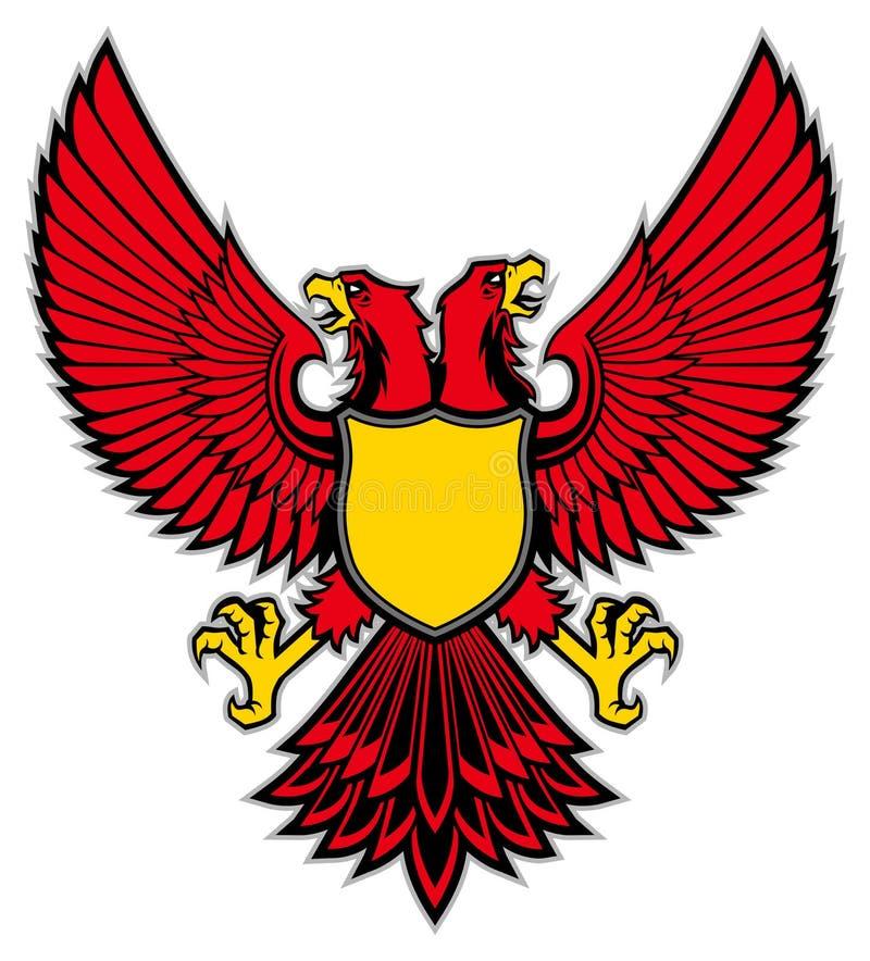 Dubbel head fågelmaskotspridning vingen royaltyfri illustrationer