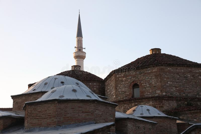 Dubbel het badhuis van Gazimahmed Pasha Hamam complex in Prizren, Kosovo stock foto