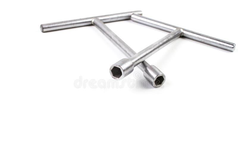 Dubbel kort skiftnyckel för grå färger T arkivfoton