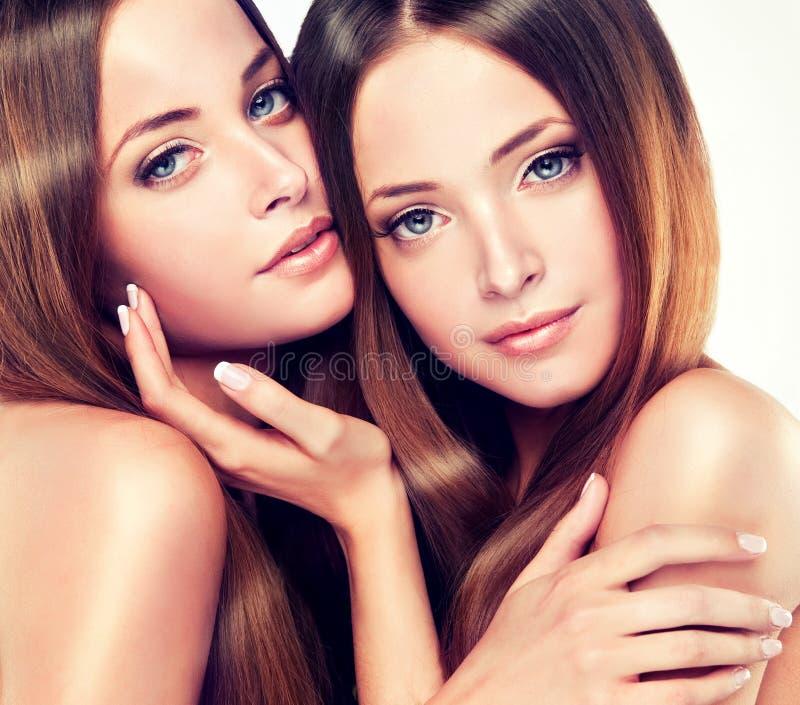 Dubbel portret van schitterende tweelingen met het glanzende gezonde haar van NGO stock afbeelding