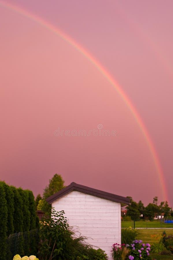 Dubbel regnbåge över en trädgård i rosa färg royaltyfri fotografi