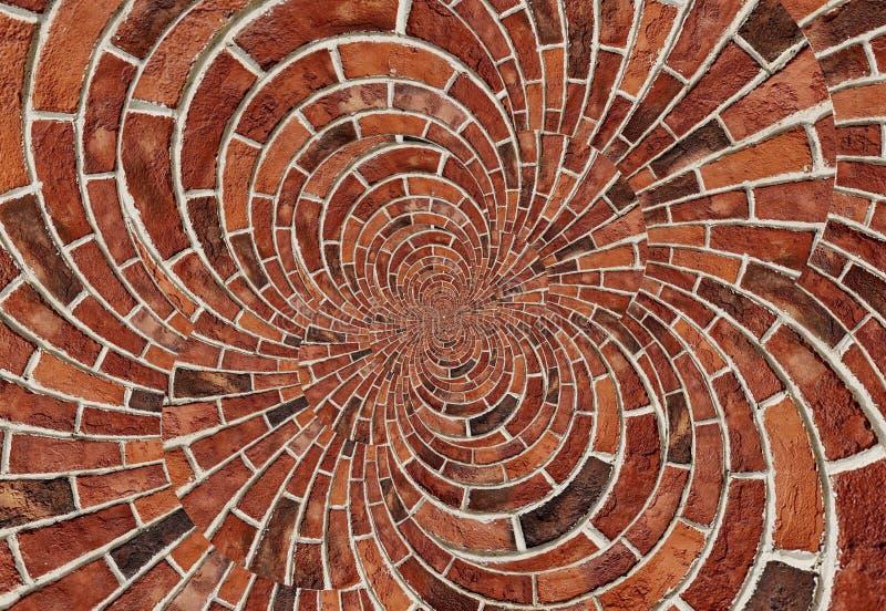 Dubbel spiral bakgrund för textur för vägg för röd tegelsten för effektabstrakt begrepp Ärke- färger för terrakotta för vägg för  stock illustrationer