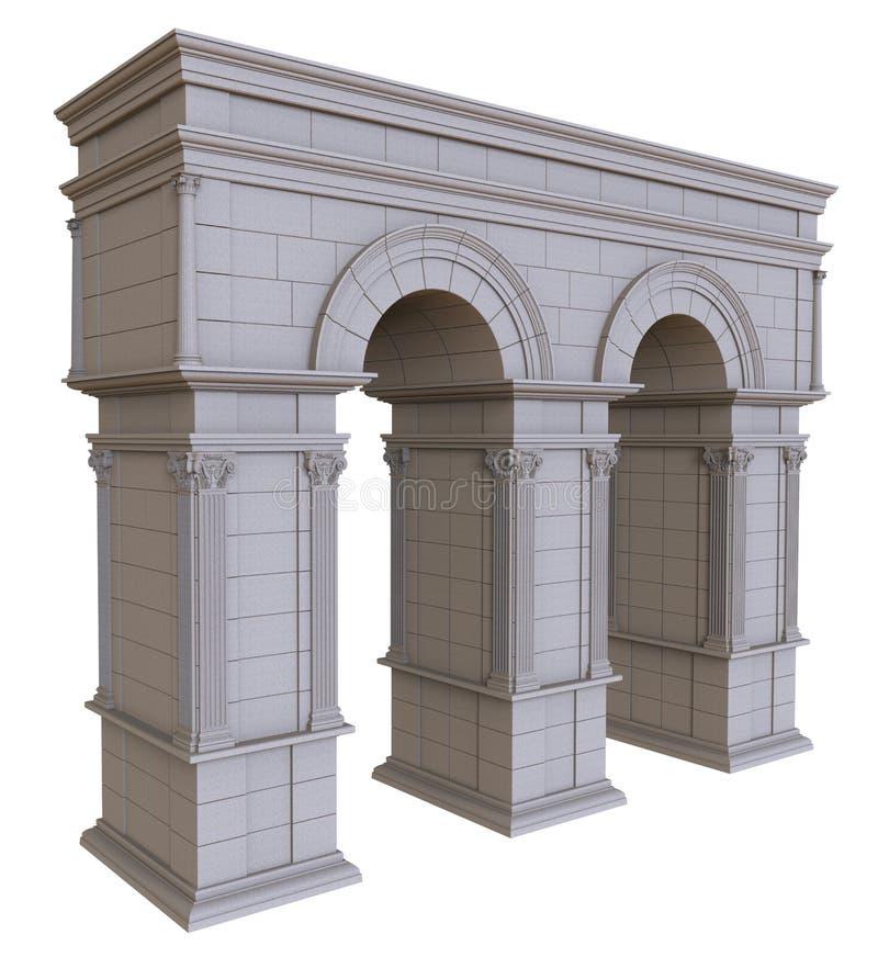 Dubbel stenbåge med kolonner royaltyfri illustrationer