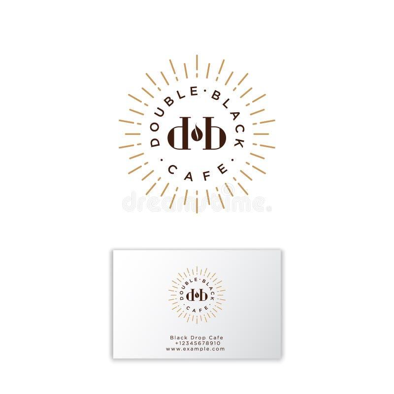 Dubbel svart kafélogo Kaffeemblem D- och b-bokstäver med solstrålar och vart kaffe Plan logo för Hipster royaltyfri illustrationer