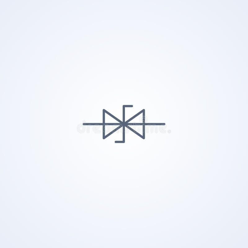 Dubbel, vector beste grijs de lijnsymbool van de Zenerdiode stock illustratie