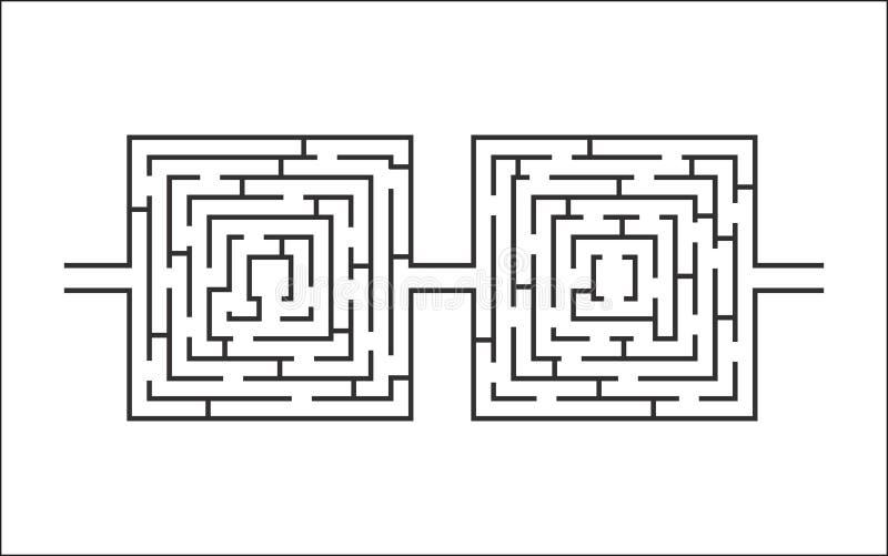 Dubbelbildande lek för svår och lång labyrint som vita exponeringsglas royaltyfri illustrationer
