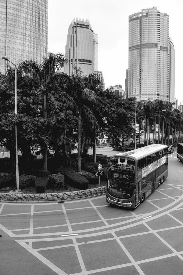 Dubbeldekkerbus in Hong Kong China stock afbeeldingen