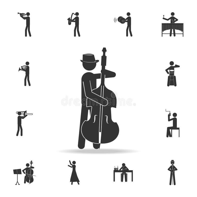 Dubbele basspeler met een mobiel contrabaspictogram, Gedetailleerde reeks muziekpictogrammen Het grafische ontwerp van de premiek stock illustratie