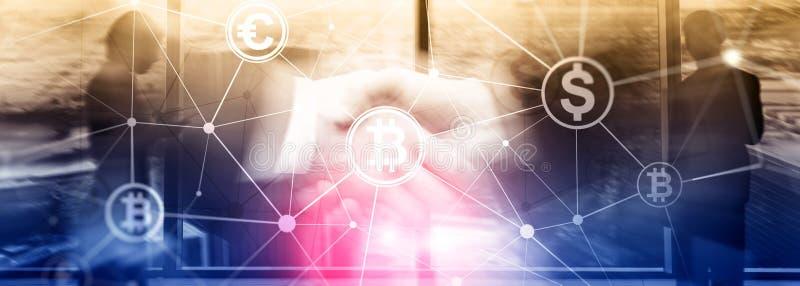 Dubbele blootstelling Bitcoin en blockchain concept Digitale economie en munt handel royalty-vrije stock fotografie
