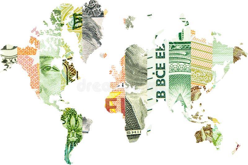 Dubbele blootstelling met wereldkaart en yuans, roebel, euro en dollar royalty-vrije stock fotografie