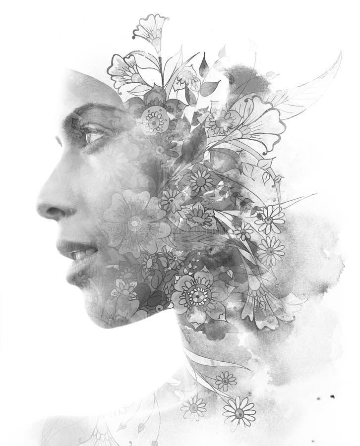 Dubbele blootstelling Paintography Sluit omhoog profielportret van een aantrekkelijke vrouw met sterke etnische die eigenschappen royalty-vrije illustratie