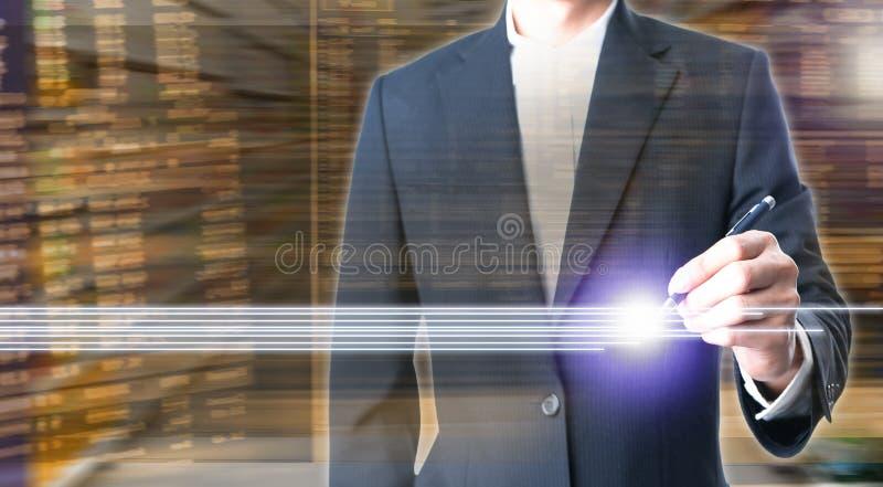 Dubbele blootstelling van bedrijfsmensen die een pen op effectenbeurs houden stock afbeeldingen